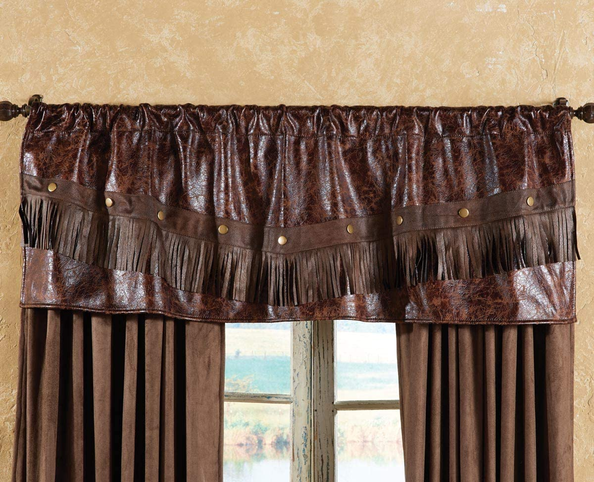 BLACK FOREST DECOR Distressed Leather Western Valance – Rustic Window Treatment