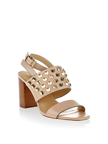 MICHAEL Michael Kors Valencia Studded Leather Sandal in Oyster Size 8.5