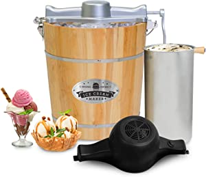 Elite Gourmet EIM402 Old Fashioned 4 Quart Vintage Appalachian Wood Bucket Electric Maker Machine, Bonus Classic Die-Cast Hand Crank, Uses Rock Salt Churns Ice Cream in Minutes, Black