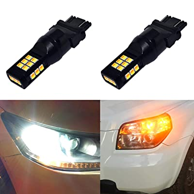 Alla Lighting 3157 LED Switchback Bulbs Fits Standard SRCK CK 4157NA Dual Color White Amber 3157 3457 LED Switchback Extremely Super Bright High Power 3035-SMD LED Bulbs for Turn Signal Lights: Automotive