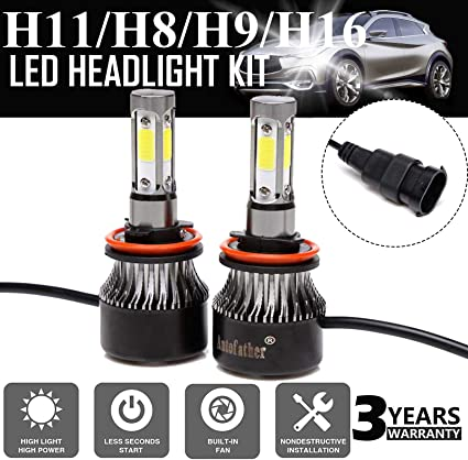 Pair H11 H8 H9 6000K LED Headlight Bulbs 12000LM Cool White Color Fog Light//High Beam//Low Beam Conversion Kit 360 Degree Beam Angle Super Bright All-in-One Plug /& Play