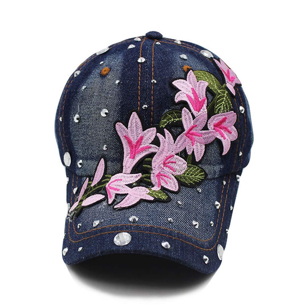 BAIELFES Summer Flower Female Adult Denim Baseball Cap