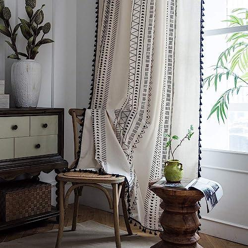 Reviewed: ColorBird Geometric Semi-Blackout Window Curtains 2 Panels Bohemian Style Cotton Linen Darkening Curtains