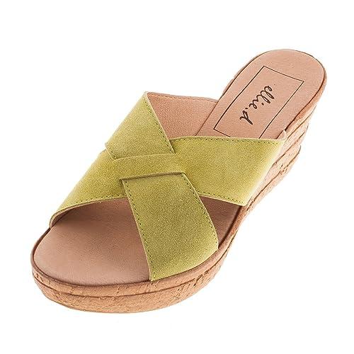 Mujer D para Verde Sandalias Vestir Amazon y Zapatos de Pistacho complementos es x6awHrx