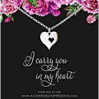 Memorial Necklace • Sympathy Gifts for Women • Sterling Silver • Loss of Husband Parent Baby • Miscarry Miscarriage Grief • Remembrance Jewelry • Mom Dad Grandmother • I Carry Your Heart Charm