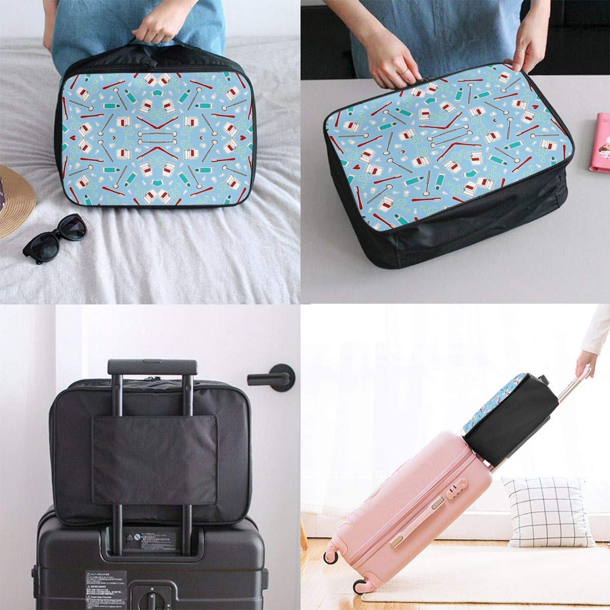 JTRVW Luggage Bags for Travel Travel Duffel Bag Waterproof Fashion Lightweight Large Capacity Portable Duffel Bag for Men /& Women Cute Dentist Dental Hygienist Print Blue