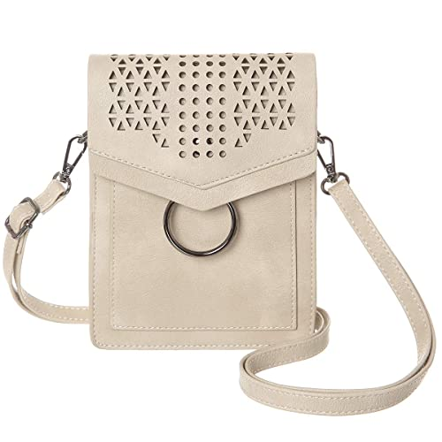 a919242dadd MINICAT Women Portable Small Crossbody Bags Cell Phone Purse Wallet With  Credit Card Slots (Beige