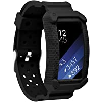 Moretek Band for Gear Fit2 Bands, Frame Rugged Protective Case with Strap for Samsung Gear fit 2 / Gear Fit2 Pro Sport Tracker Smart Watch Strap (NewBlack)