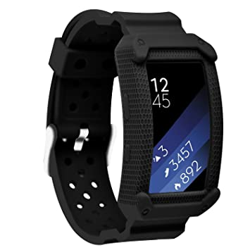 Greatfine Samsung Gear Fit2 Correa, muñequera Deportiva Watch Band de Reloj Pulsera de Reemplazo Correa para Samsung Gear Fit 2 SM-R360 Smart Watch (Black): ...