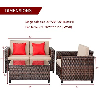 suncrown outdoor patio furniture 4 piece conversation set all weather wicker thick durable cushions with washable covers porch backyard garden