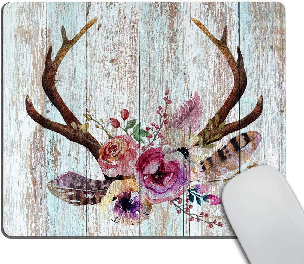 Smooffly Mousepad Farmhouse Mouse pad Wood Mousepad Boho Mouse pad Antlers Flowers Teachers Gift Mouse mat Rectangle Mouse pad Office Supplies Friends