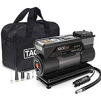 Tacklife ACP1C 12V DC Portable Air Compressor Pump with Gauge, LED Flashlight, 4 Nozzle Adaptors & Extra Fuse