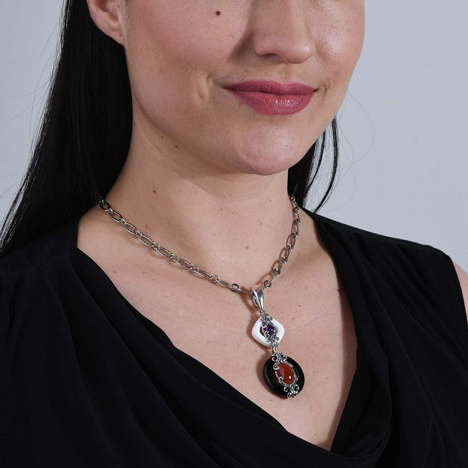 Carolyn Pollack Sterling Silver Gemstone Pendant Enhancer Choice of 2 Color Combinations