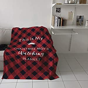 This is My Christmas Movie Watching Blanket Lightweight Flannel Fleece Throw Blankets Reversible Cozy Warm Plush Microfiber Blanket for Bed Couch Chair Living Room All-Season, 50x60 Inch