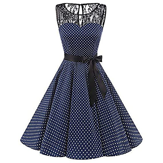 BBestseller-Vestidos Fiesta Falda para Mujer, Coctel Corto Flor Encaje Elegante Sin Mangas Maxi Vestir Skirt Swing High-Waist Pleated Dress: Amazon.es: Ropa ...