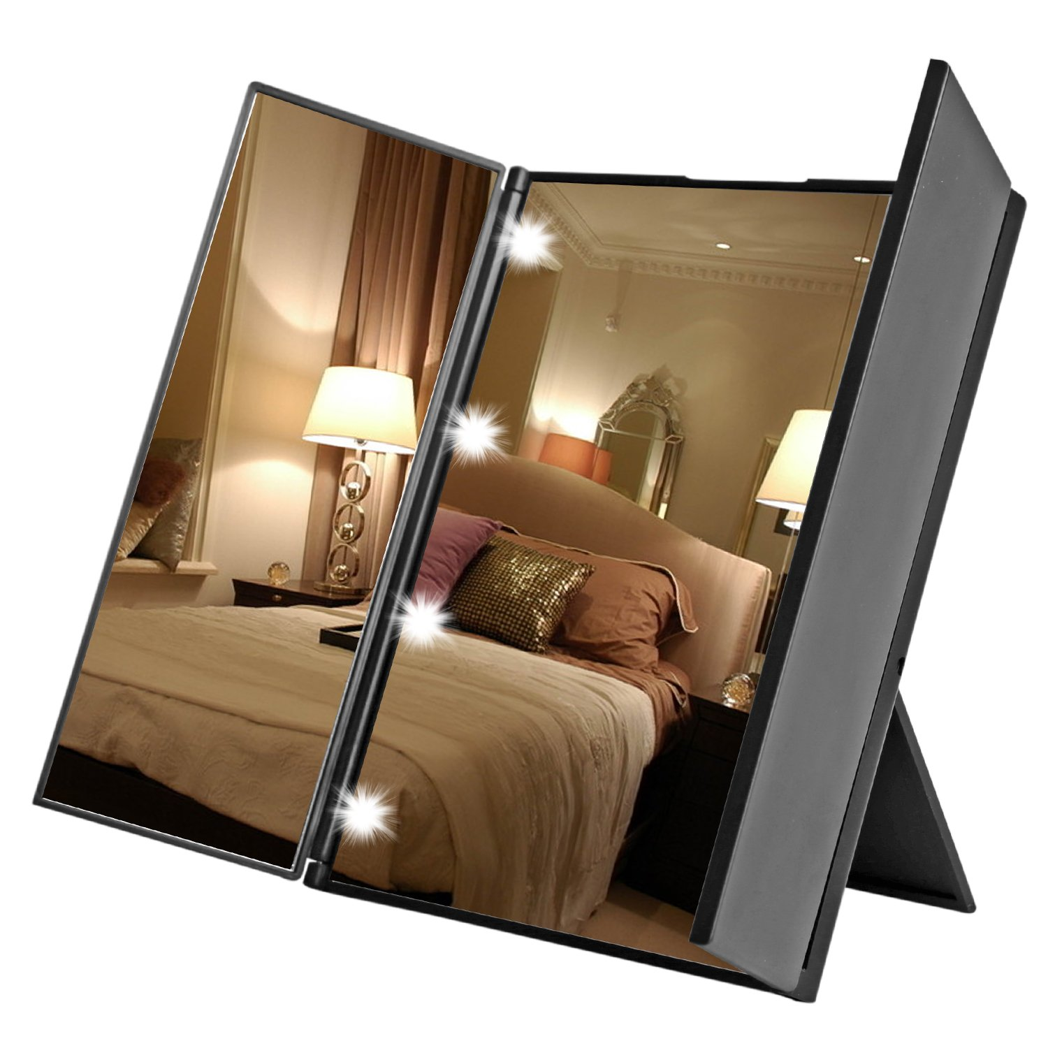 Foldable Make up Mirrors with LED Lights, BuySShow Tri-Fold Light Makeup Mirror Portable Vanity Mirror with light for Makeup Travel Mirror Makeup Mirror with Lights