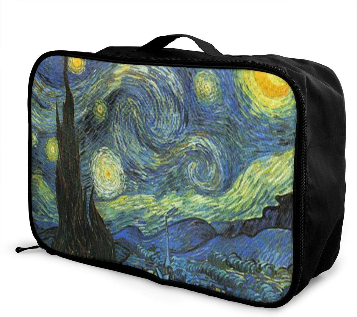 Travel Bags Starry Night Portable Foldable Trolley Handle Luggage Bag