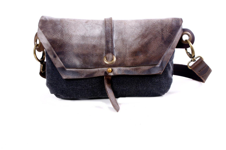 Black Hip Bag - Fanny Pack - Traveler Bag - Utility Hip Belt - Hip Pouch-Hadmade distress Leather Bag