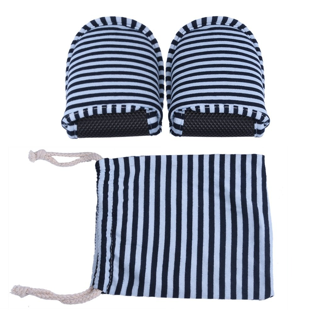 VGEBY 1 Pair Travel Foldable Slippers Anti-Slip with Drawstring Storage Bag for Home Hotel Flight Indoor Outdoor (Color : Blue Stripes for Men) by VGEBY