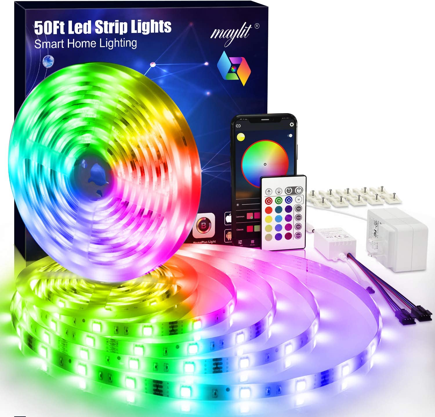 maylit Led Lights for Bedroom 50ft Bluetooth Led Strip Lights Kit, APP Controller 5050 RGB LED Light Strips with Remote and Power Supply, 450 LEDs Music Sync Color Changing Led Lights