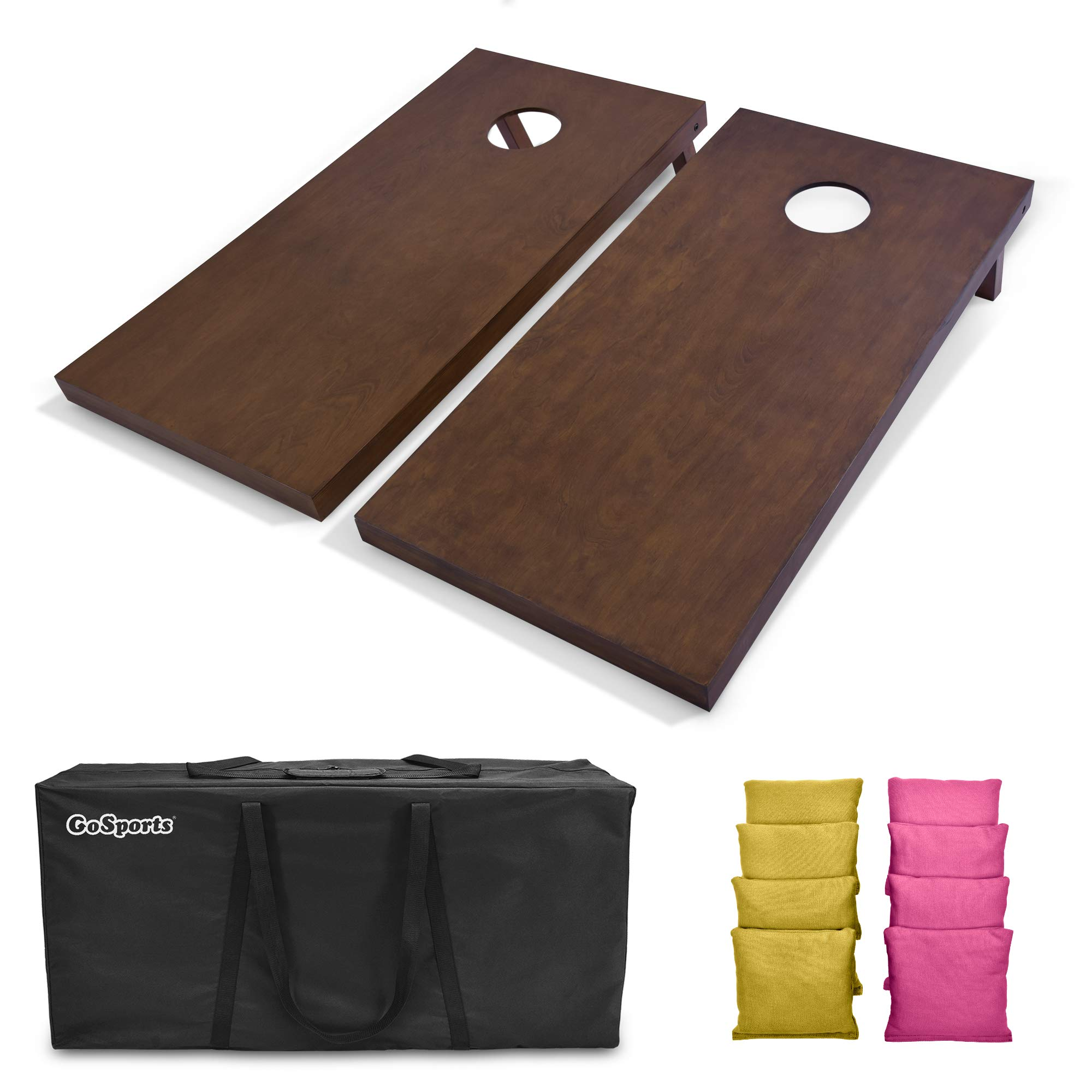 GoSports 4'x2' Regulation Size Wooden Cornhole Boards Set with Dark Brown Varnish | Includes Carrying Case and Bean Bags (Choose Your Colors) Over 100 Color Combinations by GoSports