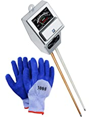 Soil pH/Moisture/Light 3in-1 Meter Tester, Gardening Test Tool kit Acidity Probe Plants Watering Quality Monitor Checker for Plant Care, Great, Garden, Lawn, Farm, Indoor & Outdoor (with Free Gloves) (Soil Meter ( Silver ))