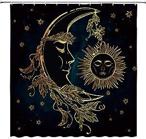 BOYIAN Bohemia Celestial Body Shower Curtain Decor Sun Moon Star Feather Native American Dark Background Yellow Fabric Bath Curtains Bathroom Accessories Polyester with Plastic Hooks 70x70 Inch