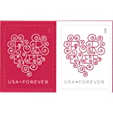 USPS Forever Hearts Forever Stamps - 100 Stamps (5 sheets of 20)