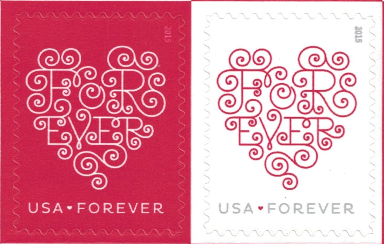 Amazon.com: Forever Hearts Sheet of Twenty Forever Stamps - Great ...