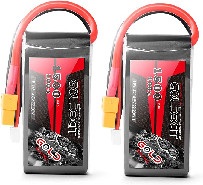GOLDBAT 1500 4S 100C RC Battery for Airplane FPV, 2 Pack, Pack of 2: Amazon.de: Spielzeug