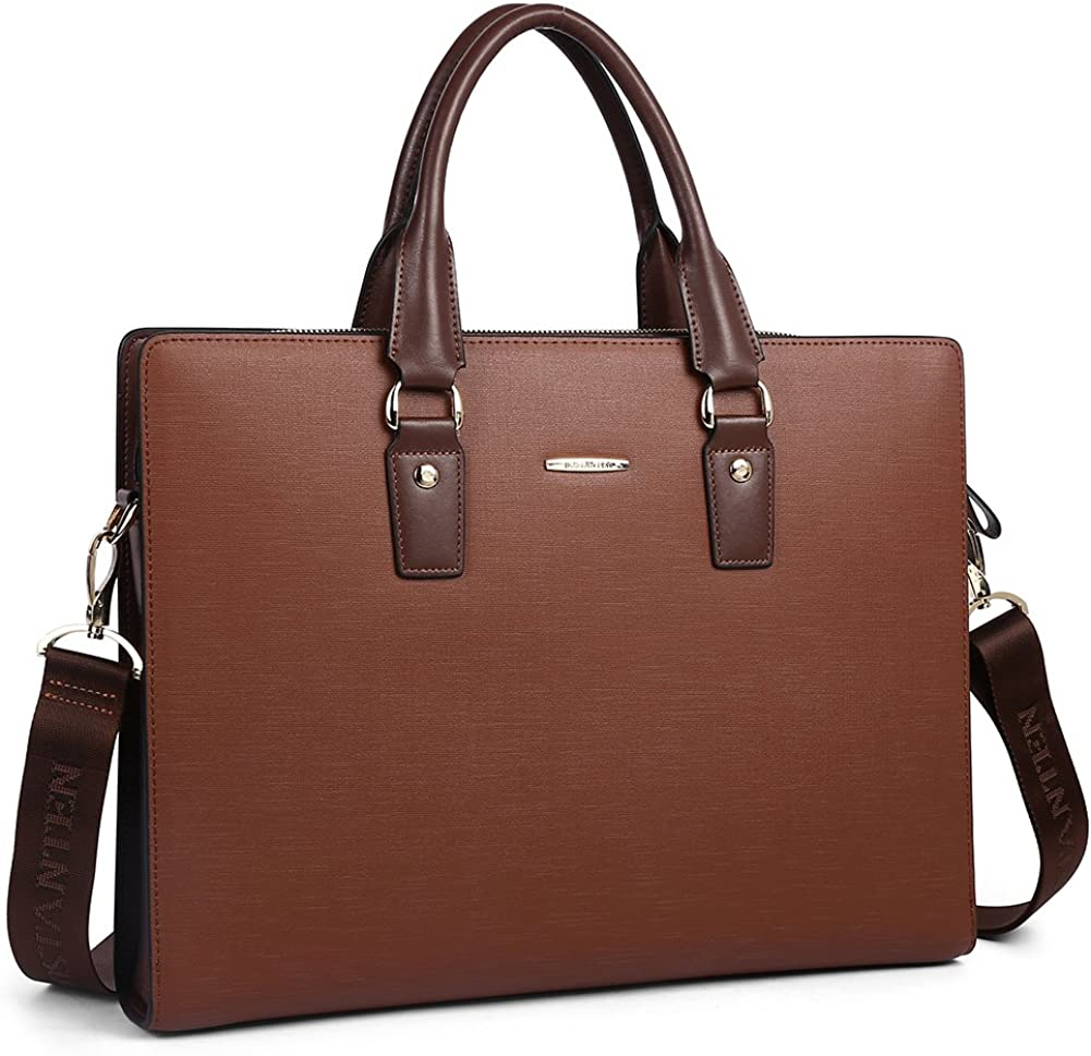 BOSTANTEN Leather Lawyers Briefcase Laptop Business Slim Bags for Men & Women