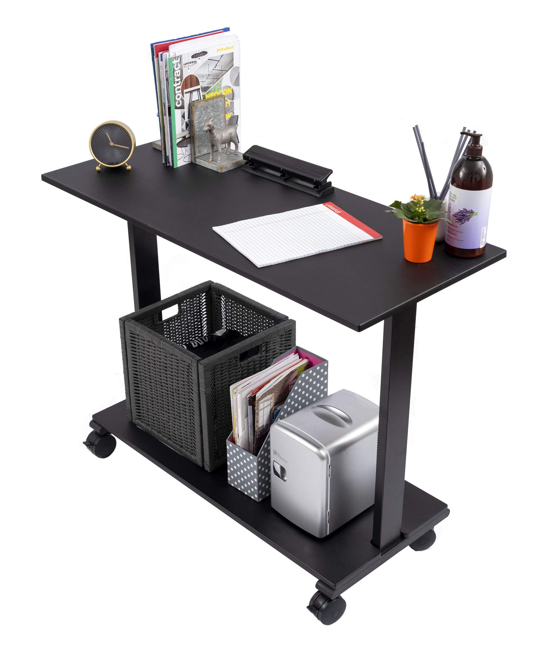 Stand Up Desk Store Two Level Rolling Printer Stand/Desk Shelf | Increase Usable Desk Space While Making Room for a Printer and Supplies (42'', Black) by Stand Up Desk Store
