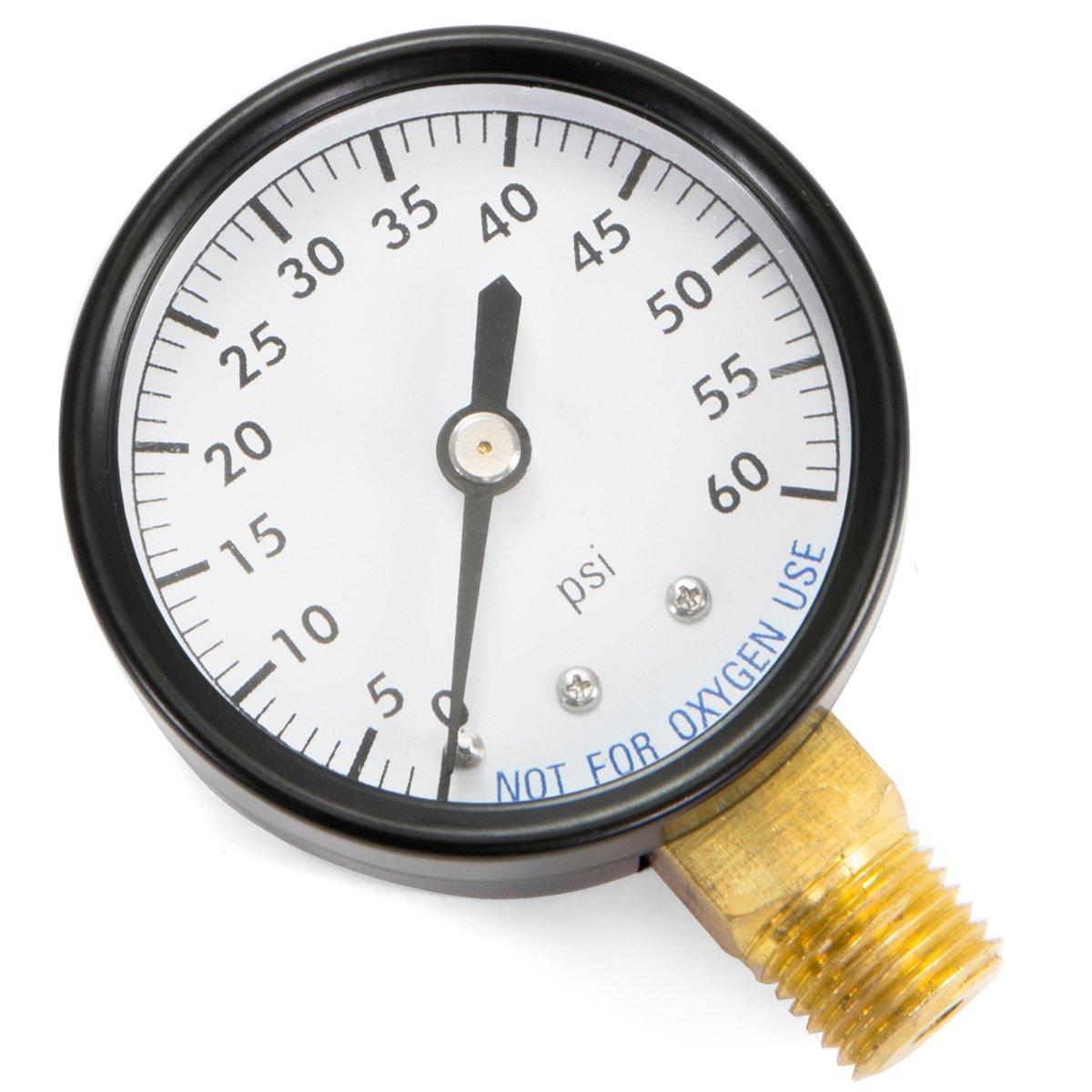 XtremepowerUS Water Pressure Gauge Bottom Thread 2 DIAL 1 4NPT