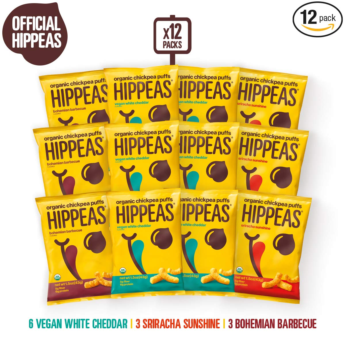 HIPPEAS Organic Chickpea Puffs + Variety Pack | 1.5 ounce, 12 count | Vegan, Gluten-Free, Crunchy, Protein Snacks by Hippeas Organic Chickpea Puffs