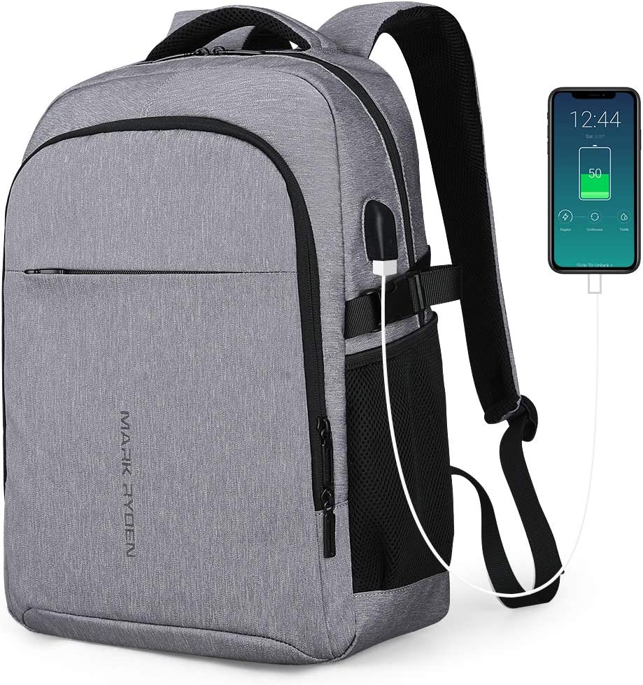 Markryden Laptop Backpack Business Bags with USB Charging Port Water-Resistant College School Travel Work Backpack Fits 15.6 Inch Laptop
