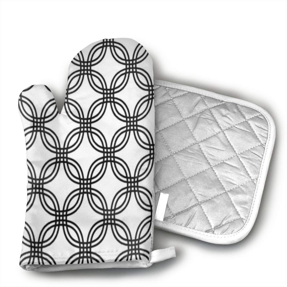 Monochrome Curved Pattern Oven Gloves and Pot Holder 2-Piece Set Heat Resistant Protects Finger Wrist
