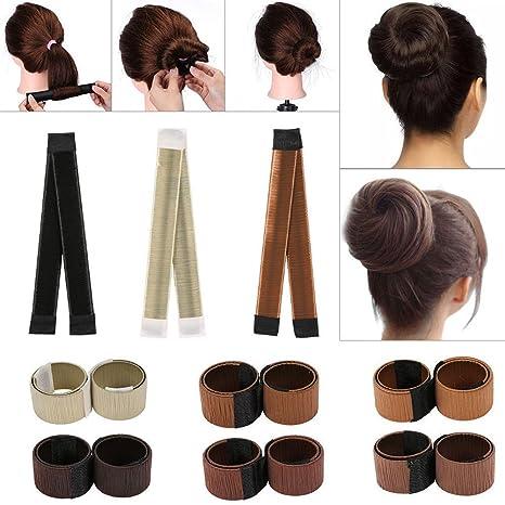 Marcador de moños para el pelo, 6 unidades de rodillo mágico para hacer moños de