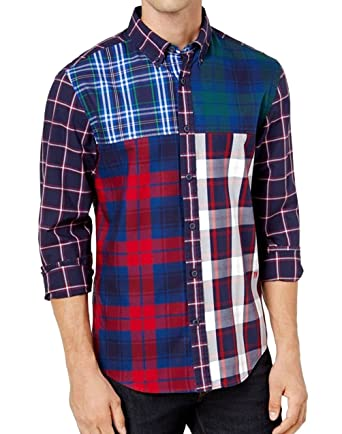 Tommy Hilfiger Boys Orange Plaid Button Down Pocket Shirt