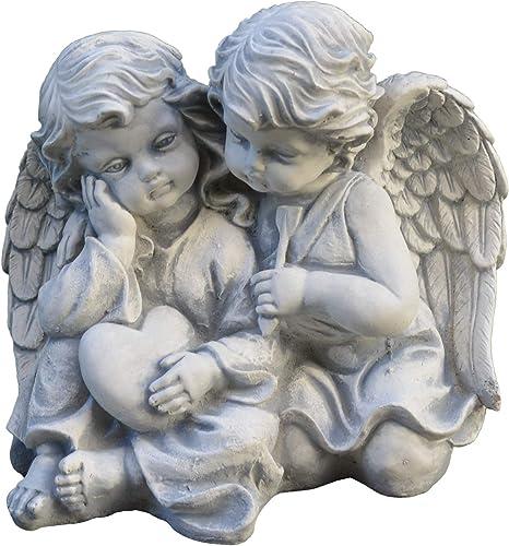 Massive Steinfigur Statue Grabengel Engel aus Steinguss frostfest Gartendeko