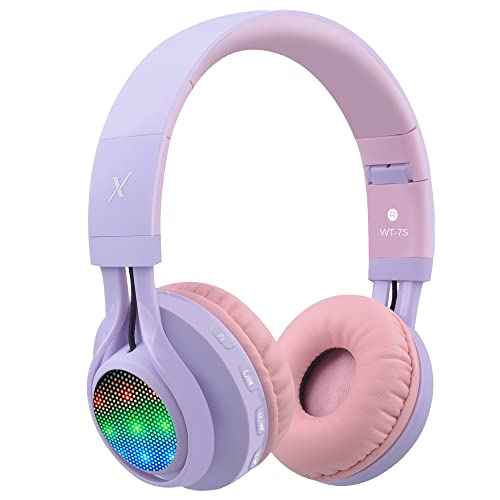 Riwbox WT-7S Bluetooth Headphones, LED Lingt Up Foldable Stereo wireless Headphones with Microphone and Volume Control for PC/iPhone/ TV/ iPad (Purple)