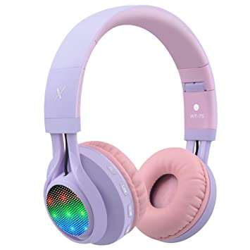 Auriculares Riwbox WT 7S inalámbricos con Bluetooth, luz LED, plegables, con micrófono y control de volumen para PC, iPhone, TV, iPad: Amazon.es: ...