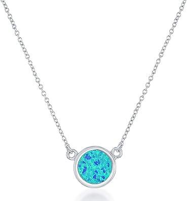 2 Circle Gemstone Pendant Sterling Silver 16
