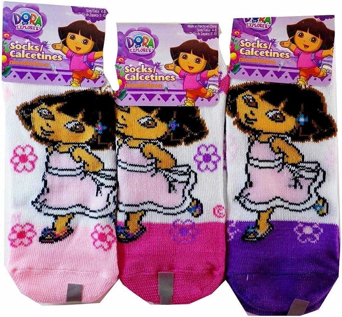 Dora the Explorer Best Friends Lavender//White Kids Socks 2 Pairs, Size 6-8