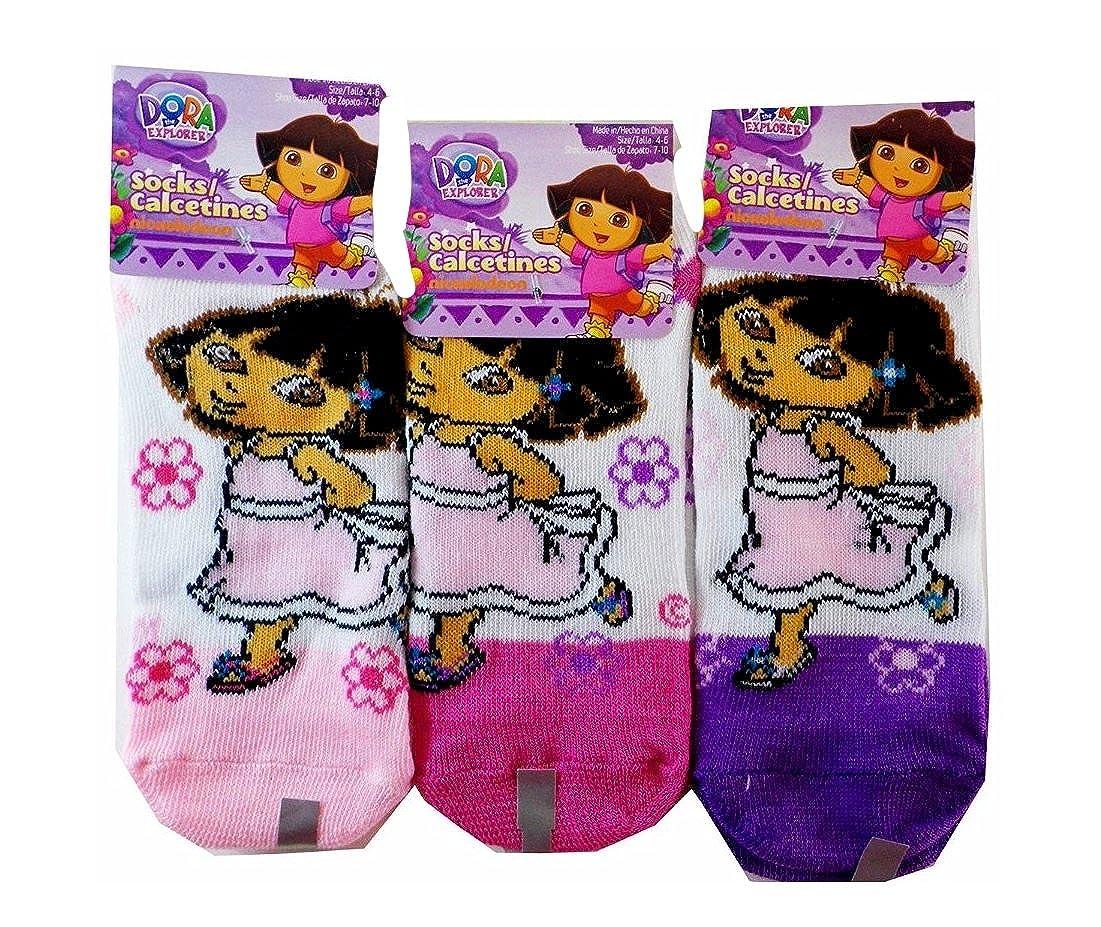 60cbca466f7b Amazon.com: Nickelodeon Dora The Explorer Socks - Kids Novelty Socks ( 3  Pair ) Size 4-6: Clothing