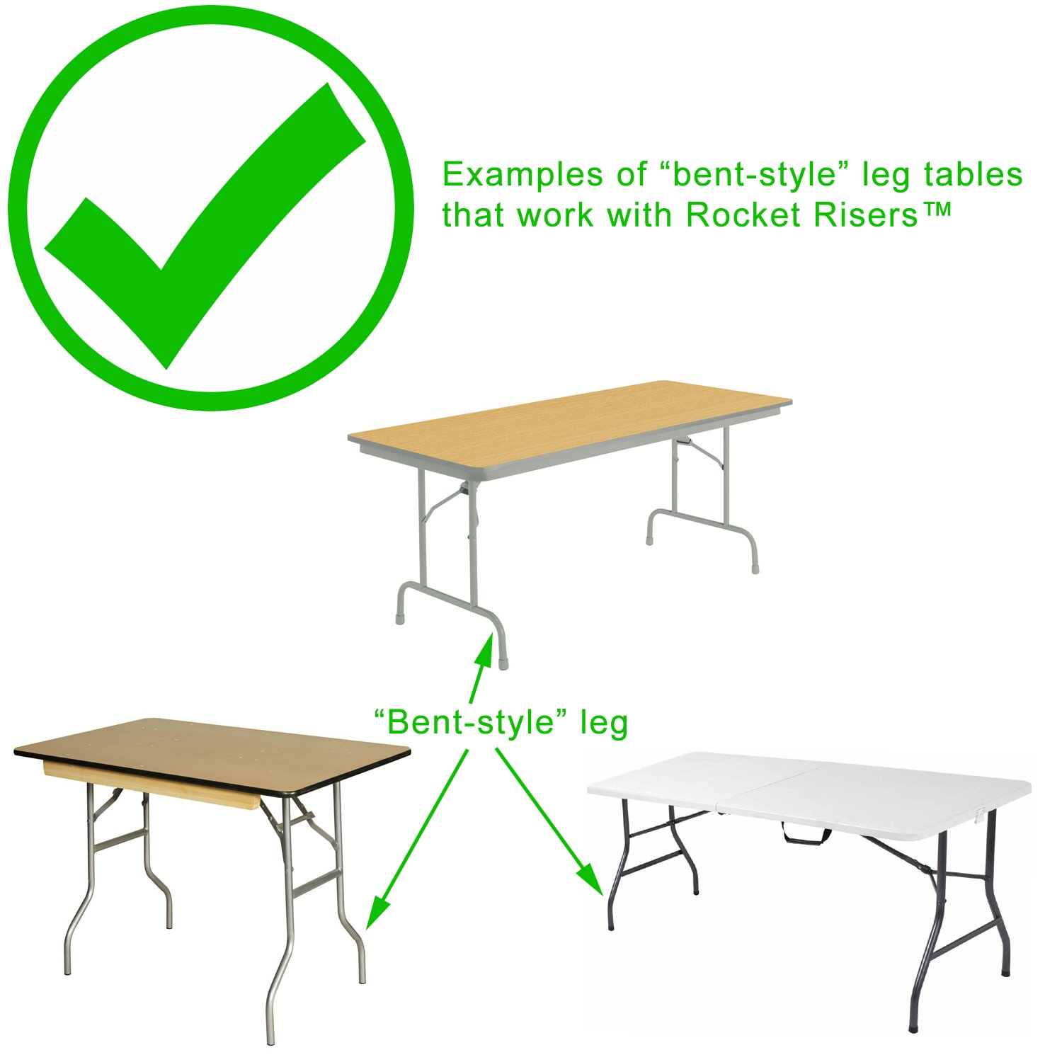 Incroyable Rocket Risers Table Risers   Make Your Folding Table A Counter Height Table    Set Of 4 Table Leg Risers