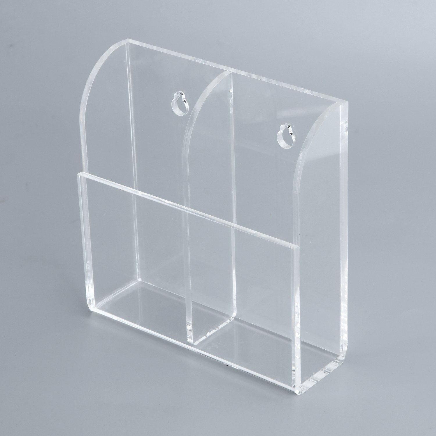 Acrylic Remote Control Holder Wall Mount Media Organizer Box,Remote Controls Organizer Storage Box With 2 Compartments,Clear