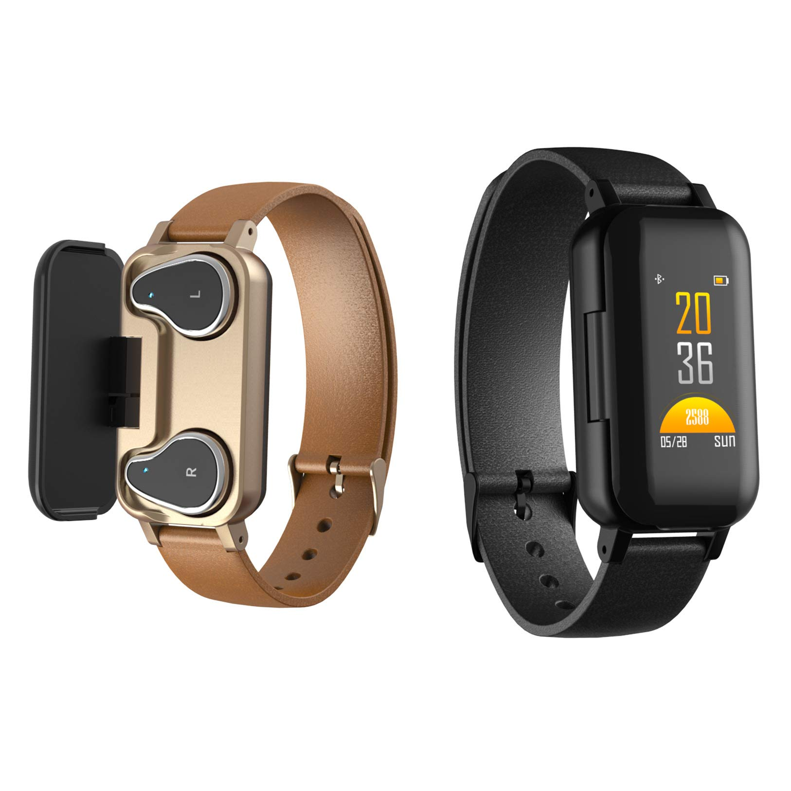 2019 Bluetooth Headphone Fitness Bracelet 2 in 1 - Smart Watch & Bluetooth Earbuds,Fitness Tracker,Heart Rate Blood Pressure Monitor,Waterproof with Stopwatch,Step Counter for Women Men (Black)