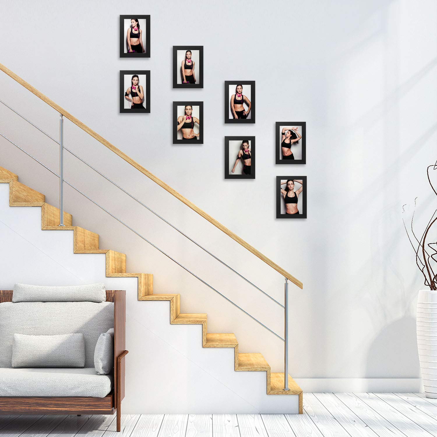 Mounting Hardware Included ONE WALL Tempered Glass 1PCS 4x6 Picture Frame Black Wood Frame for Wall and Tabletop