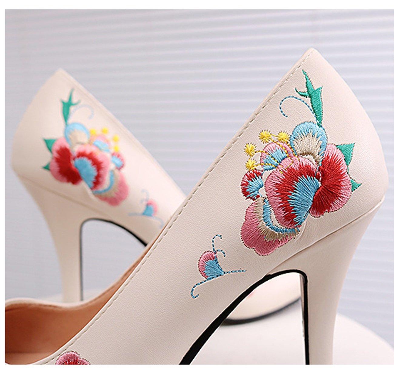 Huaishu Huaishu Huaishu Frauen Frühling Herbst Neue Schuhe Nationalen Wind Bestickt Einzelne Schuhe High Heel Stiletto Rutschfeste Bequeme Schuhe Damen Mädchen Sport Freizeit Sportschuhe e62fe1