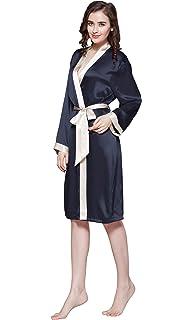 LILYSILK Robe de Chambre Femme Soie Peignoir à Manches Longues Bordure  Crème Ceinture à Nouer Longueur 8102327bd247